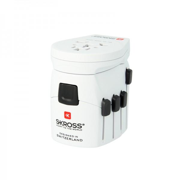 Steckeradapter World Pro + USB/Schuko (f. 3-polige Stecker)
